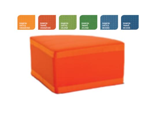 Sedací souprava rohová část kulatá bez opěradla-tmavě oranžová