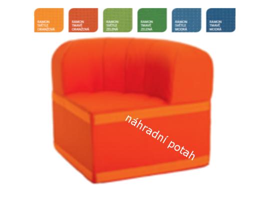 Sedací souprava velká rohová část kulatá s opěradlem-náhradní potah Ramon-světle oranžová