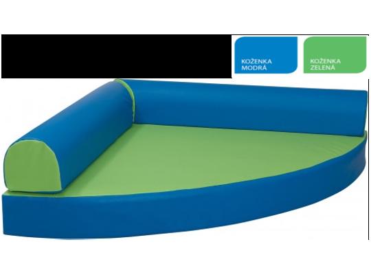 Relaxační sedací kout koženka-zelená/modrá