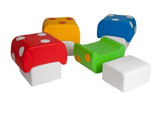 Taburet sedací z PUR pěny-houba-červená