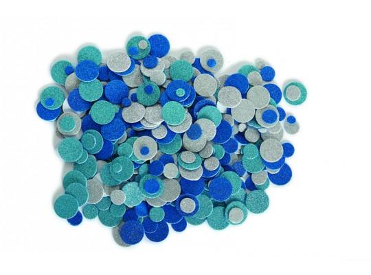 Pěnovka moosgummi samolepicí-kolečka třpytivá modrá
