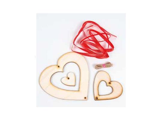 Sada kreativní dřevěná-závěs srdce