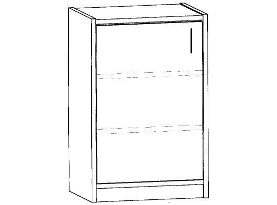 Skříň spodní-sokl-50x82x42cm-dveře levé-police 2-dekor bříza