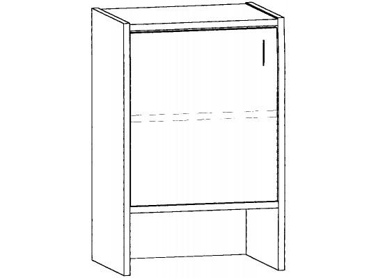 Skříň-nika-50x82x42cm-dveře levé-police 1-dekor buk