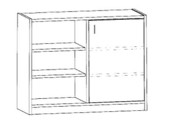 Skříň spodní dělená-sokl-100x82x42cm-dveře P-police 4-dekor buk