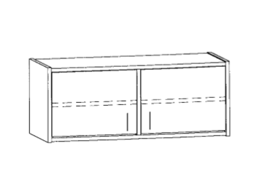 Skříň horní-100x46x42cm-dveře 2-dekor bříza
