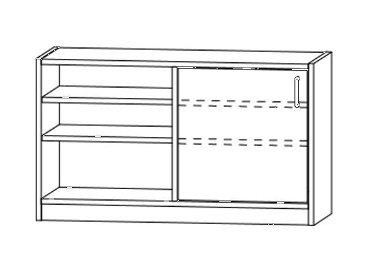 Skříň spodní dělená-sokl-100x60x42cm-dveře levé-police 4-dekor bříza