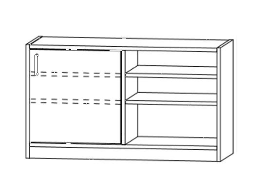 Skříň spodní dělená-sokl-100x60x42cm-dveře pravé-police 4-dekor bříza