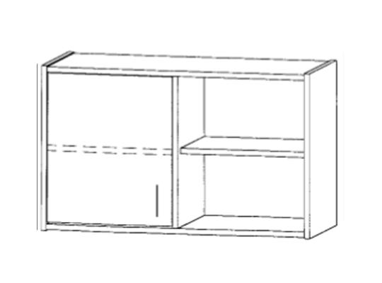 Skříň horní dělená-100x60x42cm-dveře levé-police 2-dekor buk