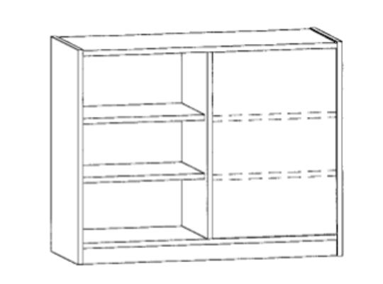 Skříň spodní-sokl-100x82x42-police 4-dekor bříza