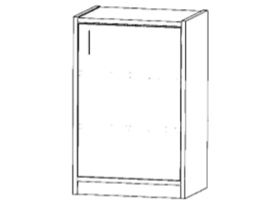 Skříň spodní-sokl-50x82x42cm-dveře pravé-police 2-dekor bříza