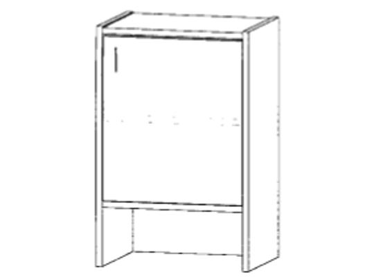 Skříň-nika-50x82x42cm-dveře pravé-police 1-dekor buk