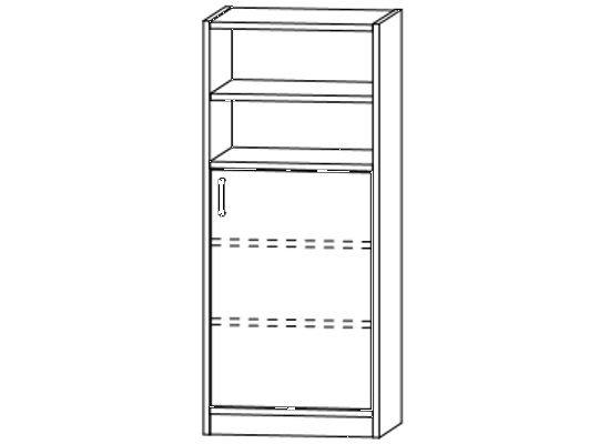 Skříň dělená-sokl-50x120x42cm-dveře pravé-police 3-dekor buk