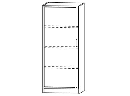 Skříň-sokl-50x120x42cm-dveře levé-police 3-dekor bříza