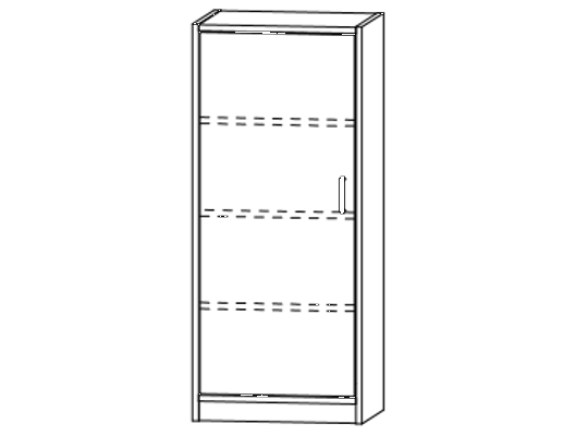 Skříň-sokl-50x120x42cm-dveře levé-police 3-dekor buk