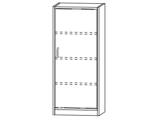 Skříň-sokl-50x120x42cm-dveře pravé-police 3-dekor bříza