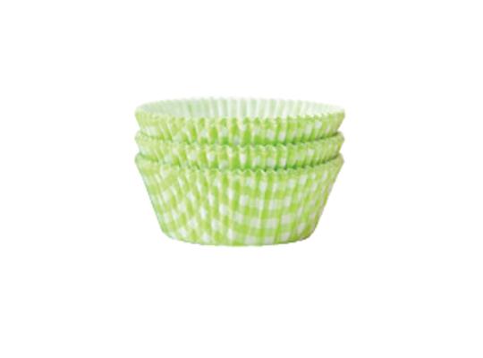 Košíček cukrářský velký-káro zelené-5x2,5cm