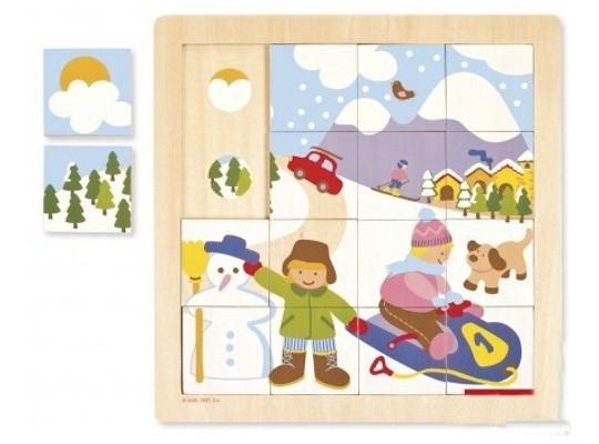 Puzzle dřevěné-roční období-zima