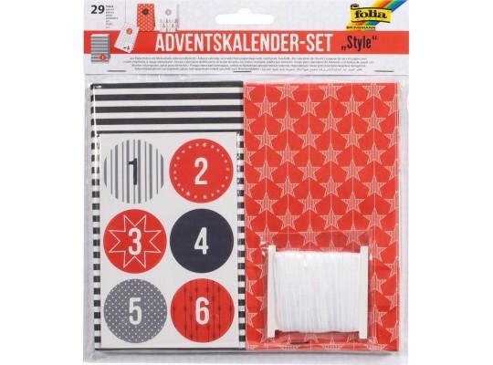 Kalendář adventní-sáčky červená-černá-bílá