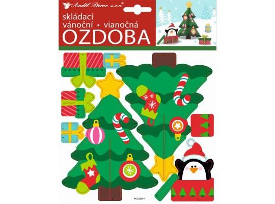 Ozdoba z papíru skládací-strom vánoční