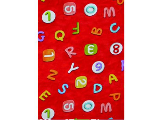 Látka bavlna-potahová-abeceda červená