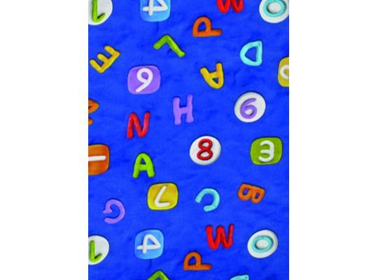 Látka bavlna-potahová-abeceda modrá