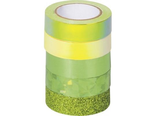 Páska dekorační Washi Tape-mix zelený
