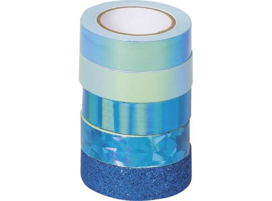 Páska dekorační Washi tape-mix modrý