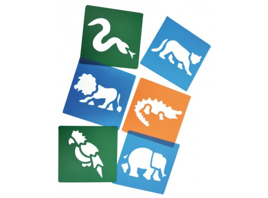 Šablona z plastu barevná-zvířátka exotická