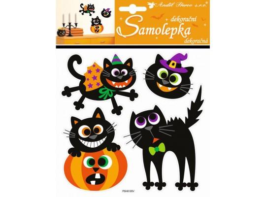 Samolepky Halloween-kočky/dýně