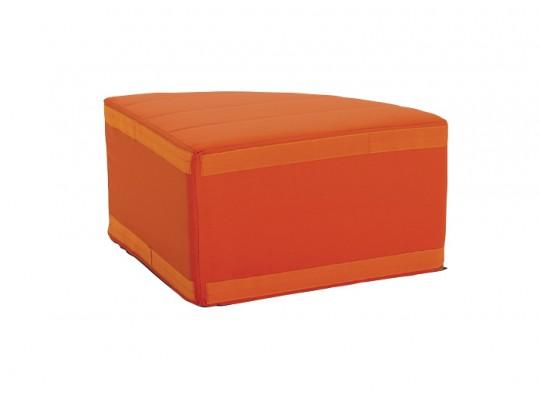 Sedací souprava velká rohová část kulatá bez opěradla Ramon-tmavě oranžová