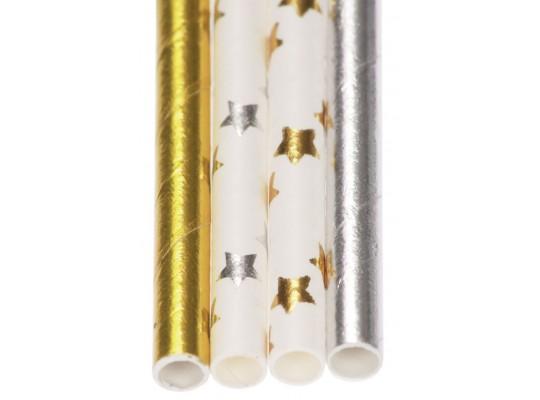Brčko papírové-hvězda-zlatá/stříbrná-pr.0,6x20cm