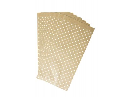 Sáček papírový přírodní s hvězdami-15x31x6cm