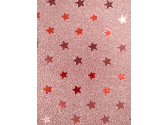 Fotokarton třpytivý-hvězdy růžové
