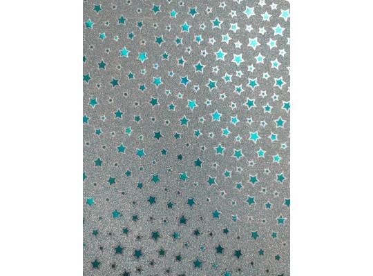 Fotokarton třpytivý-hvězdy modré