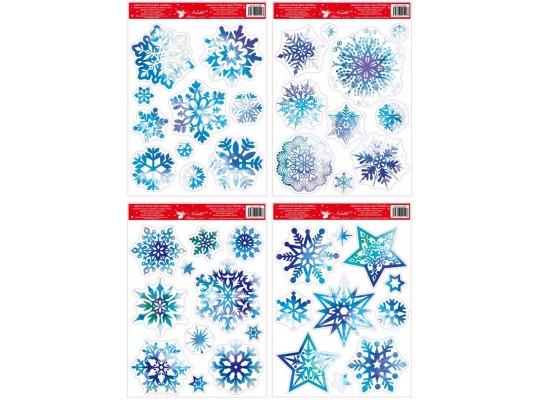Fólie okenní-vločky modré s glitry