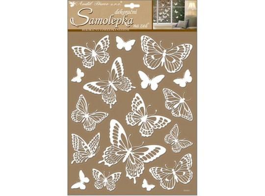 Samolepka na zeď-motýli bílí s glitry