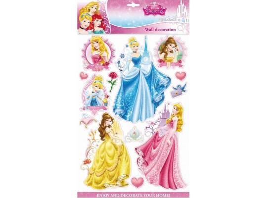Samolepka 3D na zeď-princezny Disney