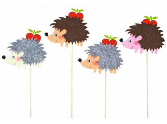 Zápich dřevěný-ježek s jablkem z filcu
