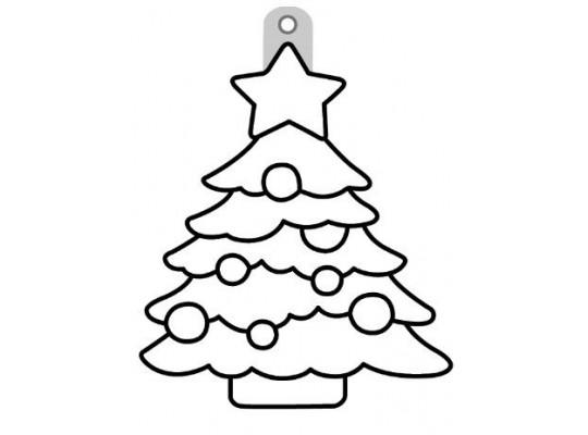 Sklíčko závěsné s konturou-strom vánoční