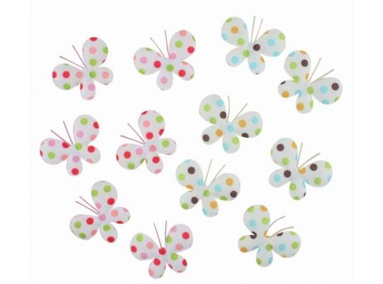 Dekorace textilní-motýl barevný s lepítkem