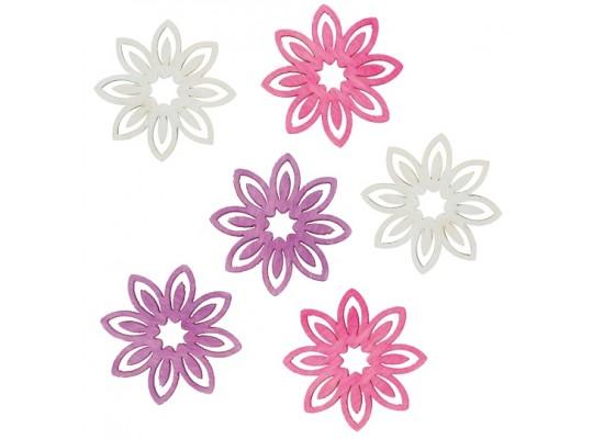 Květina dřevěná barevná-bílá/fialová/růžová
