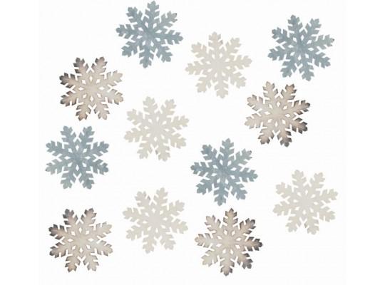 Vločka dřevěná barevná-bílá/hnědá/šedá