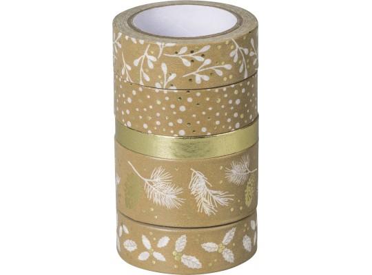 Páska papírová Washi Tape přírodní-Vánoce zlaté