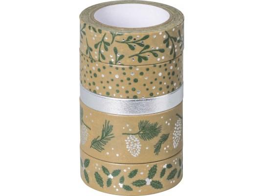 Páska papírová Washi Tape přírodní-Vánoce zelené