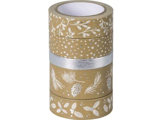 Páska papírová Washi Tape přírodní-Vánoce stříbrné