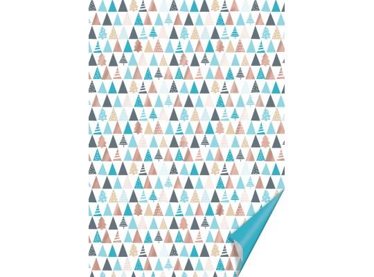 Karton vánoční-200g/m2-A4-stromky hnědé/modré/měděné