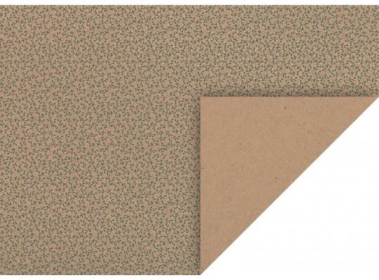 Karton kraftový-220g/m2-jmelí zelené/stříbrné glitry-50x70cm