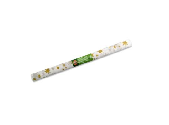 Papír krepový-200x50cm-bílý/hvězdy zlaté