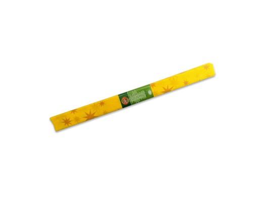 Papír krepový-200x50cm-žlutý/hvězdy zlaté
